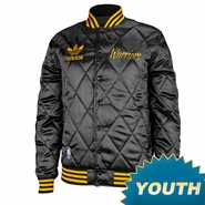 Golden State Warriors adidas Youth Primary Logo Quilted Satin Snap Jacket - Black