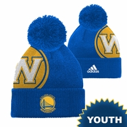 Golden State Warriors adidas Youth Secondary Logo Cuffed Knit Pom � Royal