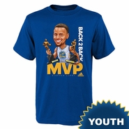 Golden State Warriors adidas Youth Stephen Curry #30 Back 2 Back Caricature MVP Short Sleeve Tee - Royal