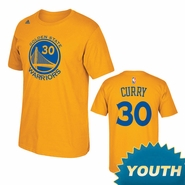 Golden State Warriors Adidas Youth Stephen Curry #30 Name & Number Tee - Gold