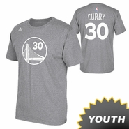 Golden State Warriors Adidas Youth Stephen Curry #30 Name & Number Tee - Slate