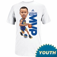 Golden State Warriors Adidas Youth Stephen Curry MVP Caricature Tee - White