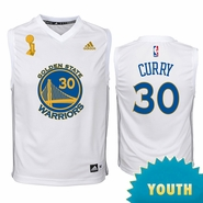 Golden State Warriors adidas Youth Stephen Curry Trophy Ring Banner Replica Jersey - White