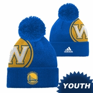 Golden State Warriors adidas Youth �W� Logo Cuffed Knit with Pom - Royal