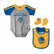 Golden State Warriors Creeper, Bib & Bootie Set