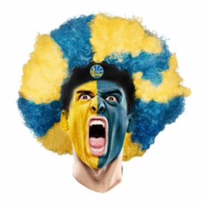 Golden State Warriors Curly Head Wig - Blue/Gold - Click to enlarge