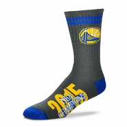 Golden State Warriors For Bare Feet Two Stripe Champs Socks - Grey - Will Ship 7/8