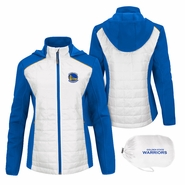 Golden State Warriors GIII Women's Primary Logo First Down Jacket - Royal/White
