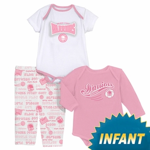 Golden State Warriors Girl's Newborn Pink 3 Piece Pajama Set - Click to enlarge