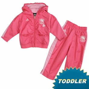 Golden State Warriors Girl's Toddler Pink Primary Logo Dewspo Wind Suit - Click to enlarge