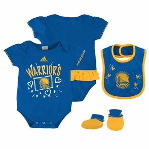 Golden State Warriors Girls Bib & Bootie Creeper Set-Royal - Click to enlarge