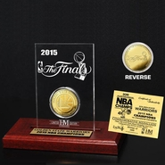 Golden State Warriors Highland Mint 2015 NBA Finals Champions Etched Display Gold Mint Coin