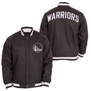 Golden State Warriors JH Design Alternate Logo Snap Front Poly Varsity Jacket - Slate