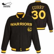 Golden State Warriors JH Design Stephen Curry #30 Reversible Melton Embroidered Jacket - Black