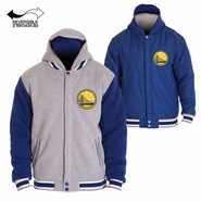 Golden State Warriors JH Design Two-Tone Reversible Fleece Hooded Jacket - Grey/Royal
