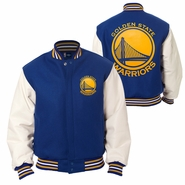Golden State Warriors JH Design Two-Tone Wool Jacket with Leather Sleeves - Royal/White