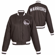 Golden State Warriors JH Design Women's Alternate Logo Snap Front Poly Varsity Jacket - Slate