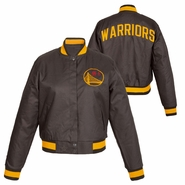 Golden State Warriors JH Design Women's Chinese Heritage Snap Front Poly Varsity Jacket - Slate