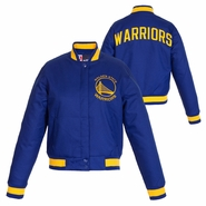 Golden State Warriors JH Design Women's Primary Logo Snap Front Poly Varsity Jacket - Royal