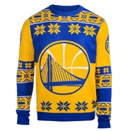 Golden State Warriors Klew Big Partial Logo Ugly Sweater Crew - Gold/Royal