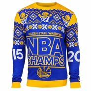 Golden State Warriors Klew NBA Champions Ugly Sweater Crew - Royal/Gold