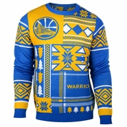 Golden State Warriors Klew Patches Ugly Sweater Crew - Royal/Gold