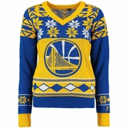 Golden State Warriors Klew Women�s Big Partial Logo Ugly Sweater V - Gold/Royal