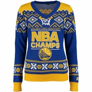 Golden State Warriors Klew Women�s NBA Champions Ugly Sweater V - Royal/Gold