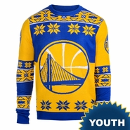Golden State Warriors Klew Youth Big Partial Logo Ugly Sweater Crew - Gold/Royal