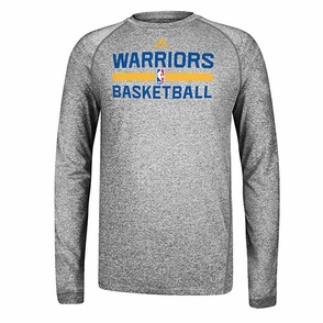 Golden State Warriors adidas Long Sleeve CLIMALITE At Practice-Grey - Click to enlarge