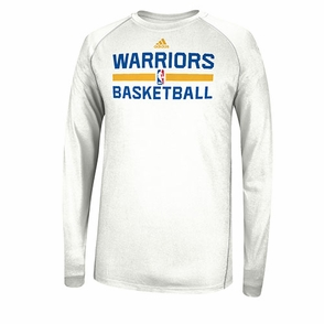 Golden State Warriors adidas Long Sleeve CLIMALITE At Practice-White - Click to enlarge