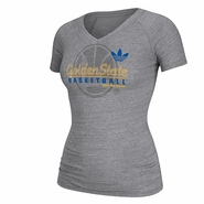 Golden State Warriors Ladies Short Sleeve Adidas Tri-Blend V-Neck Tee-Grey