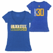 Golden State Warriors Majestic Threads Women�s Stephen Curry #30 Vertical Distressed Triblend V-Neck Tee � Royal