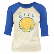 Golden State Warriors Majestic Threads Women�s �The City� Reverse Print � Sleeve Burnout Raglan � White