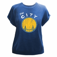 Golden State Warriors Majestic Threads Women�s �The City� Triblend Cut Off Short Sleeve Crew � Royal