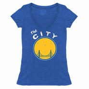 Golden State Warriors Majestic Threads Women�s �The City� Triblend V-Neck with Swarovski Crystals � Royal