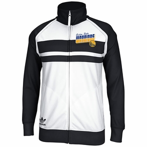 Golden State Warriors Men's Adidas Track Jacket-Blk/Wht - Click to enlarge