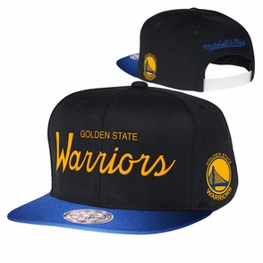 Golden State Warriors Mitchell & Ness 2 Tone Adjustable Reflective Flat Bill Cap - Royal & Black - Click to enlarge