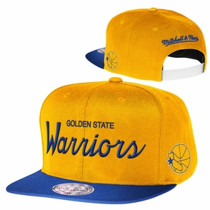 Golden State Warriors Mitchell & Ness 2 Tone Adjustable Reflective Flat Bill Cap - Royal & Gold - Click to enlarge