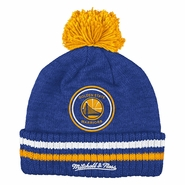 Golden State Warriors Mitchell & Ness Big Man Hi Five Pom Beanie - Royal