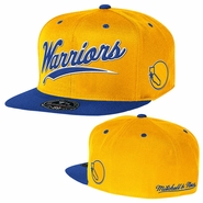 Golden State Warriors Mitchell & Ness Billboard Script Fitted Cap � Gold
