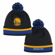 Golden State Warriors Mitchell & Ness Blackout Team Stripe Primary Logo Cuffed Pom Knit Hat - Black