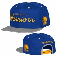 Golden State Warriors Mitchell & Ness Heather Special Script Snapback Hat - Royal/Grey