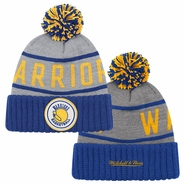 Golden State Warriors Mitchell & Ness High 5 Cuffed Knit Hat - Grey