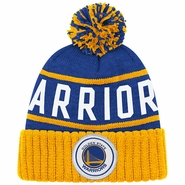 Golden State Warriors Mitchell & Ness High 5 Cuffed Knit Primary Logo Hat - Royal/Gold
