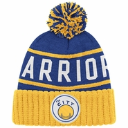 "Golden State Warriors Mitchell & Ness High 5 Cuffed Knit ""The City"" Hat - Royal/Gold"