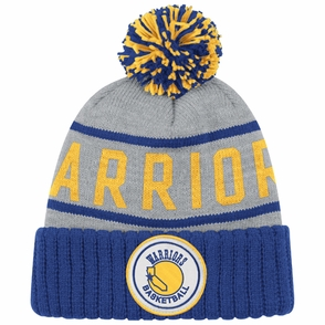 Golden State Warriors Mitchell & Ness NBA Hardwood Classics High Five Cuffed Pom Knit Hat - Grey - Click to enlarge