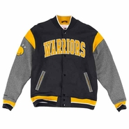 Golden State Warriors Mitchell & Ness NBA Role Player Fleece Snap-front Jacket - Black