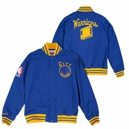 Golden State Warriors Mitchell & Ness Nothing But Net 'The City' Warm Up Jacket - Royal/Gold