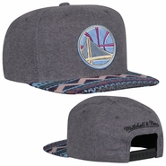 Golden State Warriors Mitchell & Ness Partial Logo Heather Tribal Snapback Hat - Grey